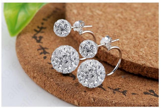 Detail One Pair New Arrival Nice 925 Sterling Silver Double Disco Crystal Beads Stud Earring Jewelry Women Accessories