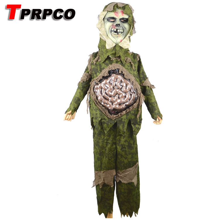 TPRPCO children kid boy Halloween cosplay Scary Zombie ghost large Intestines costume Horror Swamp Party Props B166