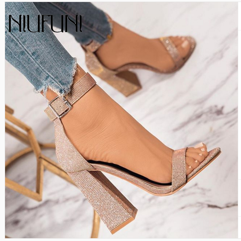 Fashion Peep Toe Thick Heel Belt Buckle Women's Sandals 2020 Summer New Solid Color High Heels Plus Size 35-42 Ladies Shoes