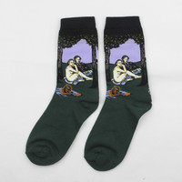 Unisex Retro Painting Art Printed Literature Creative Funny Novelty Starry Socks