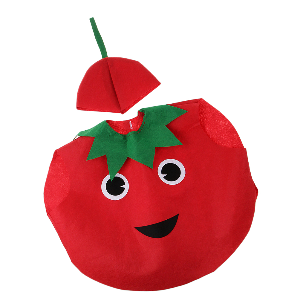 Cute Kids One-Piece Tomato Costume Non-Woven Fabric Vegetable Outfit Party Fancy Dress For Girls And Boys