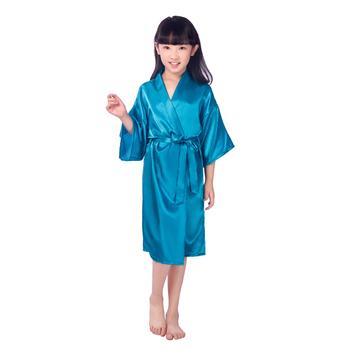 Nowe stałe dziewczyny plamy jedwabne szaty 8 kolory szlafrok kimono ślub krótkie szlafroki dla dzieci piżamy szlafroki dla dzieci koszula nocna B23 tanie i dobre opinie tenfb Poliester Pasuje prawda na wymiar weź swój normalny rozmiar Popelina