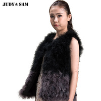 Girls Feather Vest Spring 2015 Slim Vest Women O Neck Marabou Feather Good Fitted Connect Regular