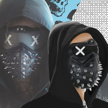 Takerlama Game Watch Dogs 2 WD2 Mask Marcus Holloway Wrench Cosplay Rivet Face Mask Half Face Latex Mask Party Cosplay Props  face mask