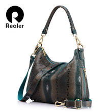 REALER women genuine leather handbags female pearl fish prints shoulder crossbody bag high quality messenger bags totes hobos(China)
