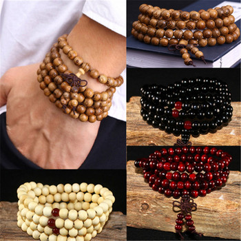108 Beads 8mm Natural Sandalwood Buddhist Buddha Wood Prayer Beaded Knot Black Ebony Unisex Men Bracelets & Bangles For Women image