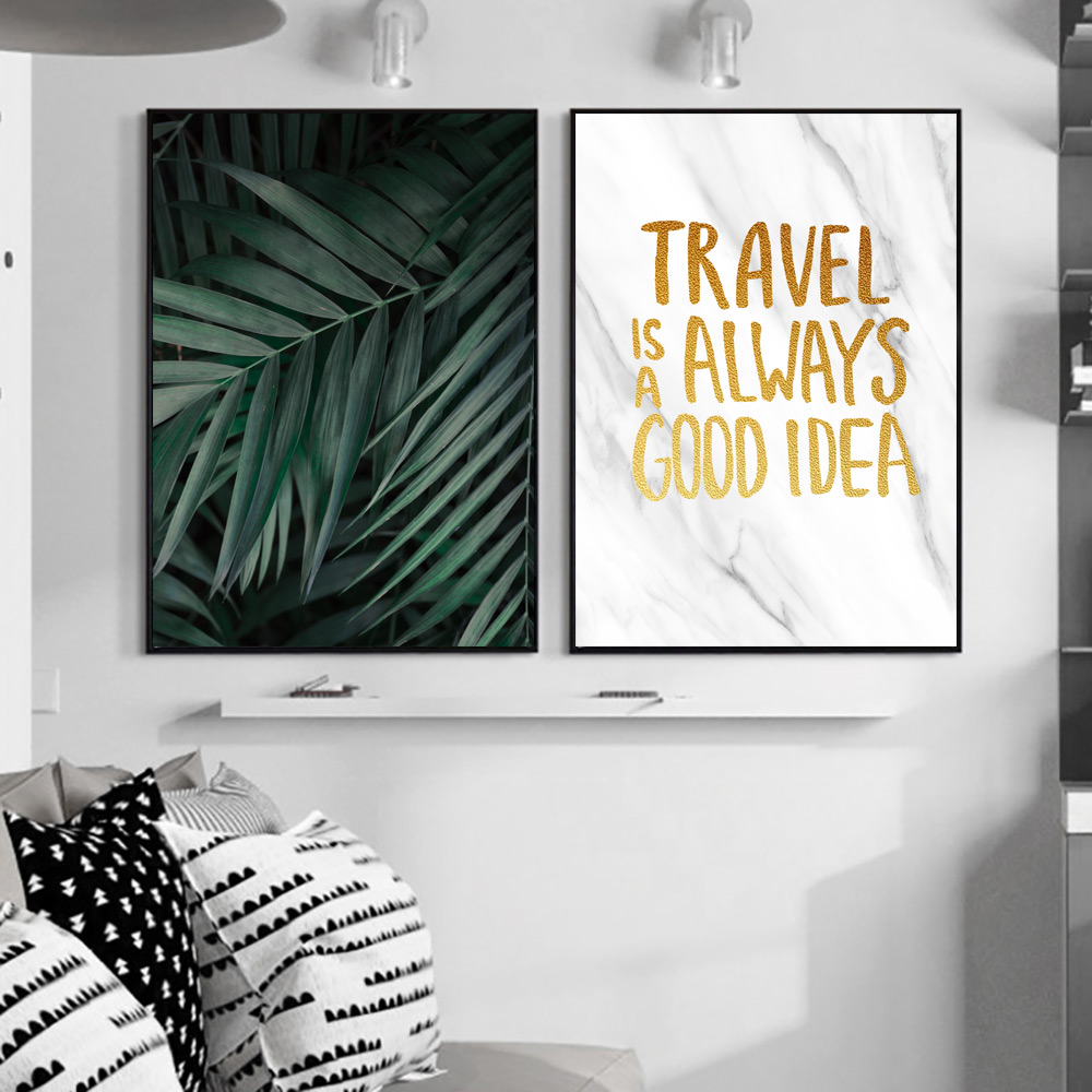 Image 4 - Green Plants Poster Leaves Canvas Painting Nordic Posters and Prints Quotes Wall Bedroom Pictures Wall Art Print Leaf Unframed-in Painting & Calligraphy from Home & Garden