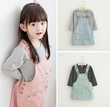 2016 Spring Autumn New Girl Sets Stripe T-shirts+Denim Suspender Dress 2 Piece Fashion Outfits Children Clothes 2-7T 7215