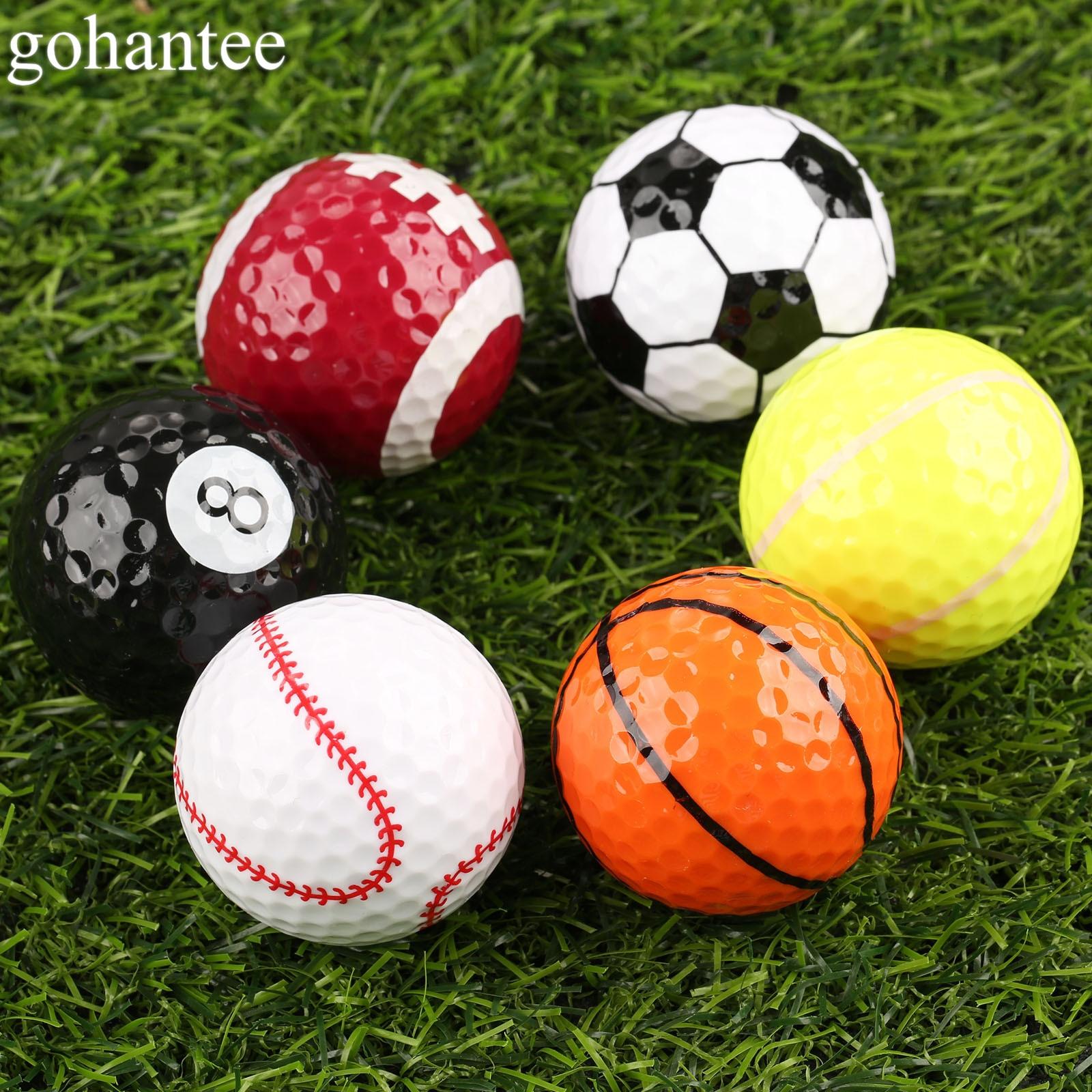 Gohantee Novelty Creative Rubber Golf Balls 6 Kinds Of Pattern Golf Game Balls Similar Rugby Football Sports Champion Golf Balls