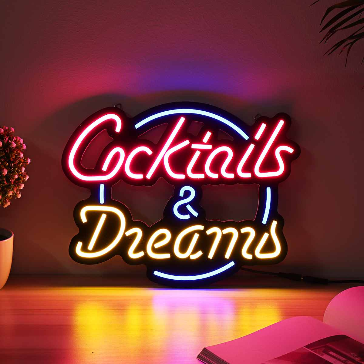 """New Cocktails And Dreams Neon Light Sign 17/""""x14/"""" Beer Cave Gift Bar Real Glass"""