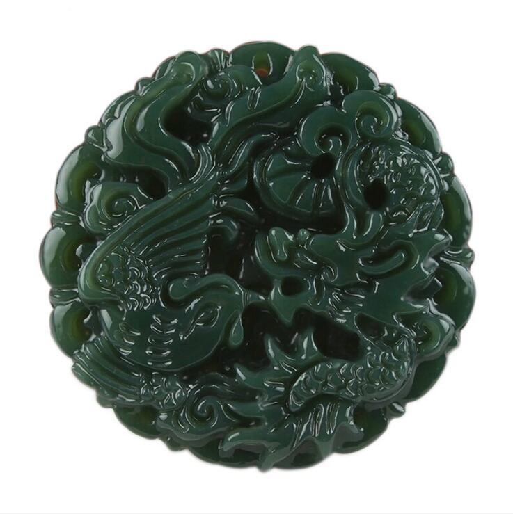 Edler Schmuck Tjp Natürliche Geschnitzte Runde Drachen Und Phönix Hetian Jade Anhänger China Qingyu Grüne Halskette Anhänger SchöN In Farbe Anhänger
