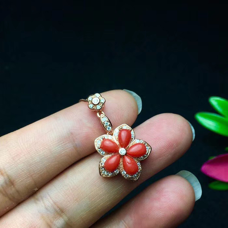 Vintage red coral pendant for party 5 pieces 4 mm * 6 mm natural preciouse coral pendant solid 925 sterling silver coral jewelry