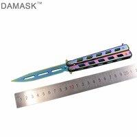 DAMASK Butterfly Knife Non Sharpen Dull Blade Training Knife CS GO Counter Strike Folding Knife Comb Knife Balisong Trainer Tool