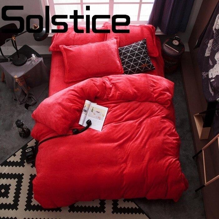 Solstice hogar textil para la piel caliente franela color sólido activo doble hilado ropa de cama edredón funda de almohada-in Juegos de ropa de cama from Hogar y Mascotas    1