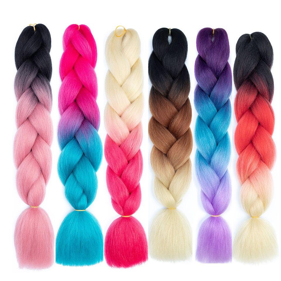 Buy Cheap Mokogoddess Ombre Jumbo Braids Braiding Hair Extensions 24 Inch 100g/pc Synthetic Kanekalon Crochet Hair For Braid Hair Extensions & Wigs
