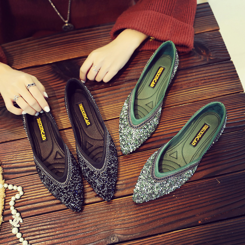 Peu Pointu Scoop Version Paresseux Marée 2018 Bouche Single Chaussures Femelle vert Plat Printemps Profonde Coréenne La Dame Sauvage Nouveau Noir De wXTaXq8