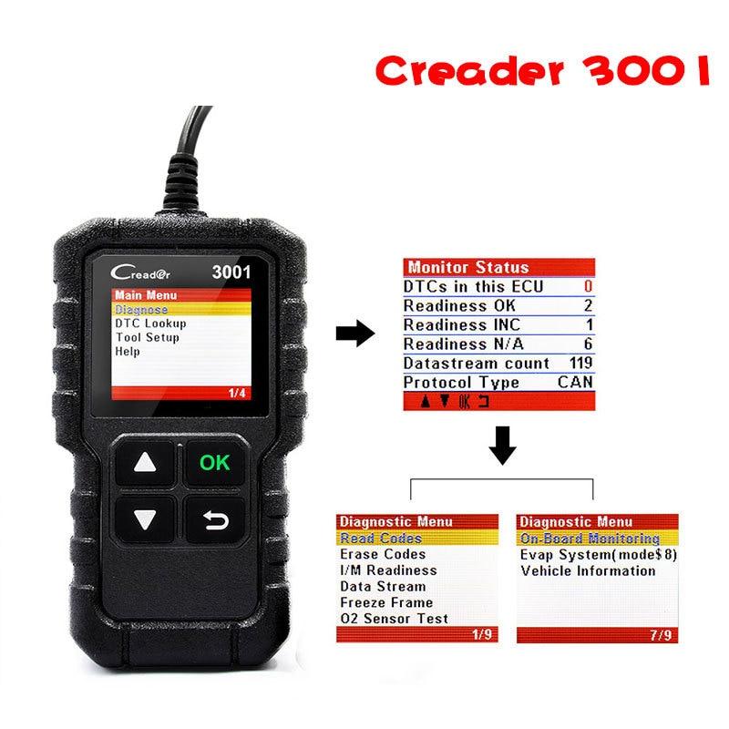 Запуск OBDII/EOBD Creader 3001X431 считыватель кодов сканирующий инструмент Многоязычный поддерживает автоматический диагностический инструмент CR3001