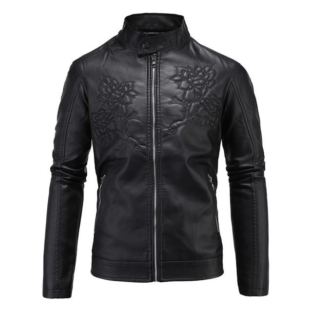 2017 new fashion leather PU Plus Size Men Jacket Coat Skinny Fit black Motorcycle streetJacket Punk Veste Cuir Homme 3xl 4xl