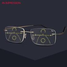 6c72d86eb Titânio Computador Leitor Multi Focal Da Lente Das Mulheres Dos Homens Óculos  de Leitura Bifocal Progressiva
