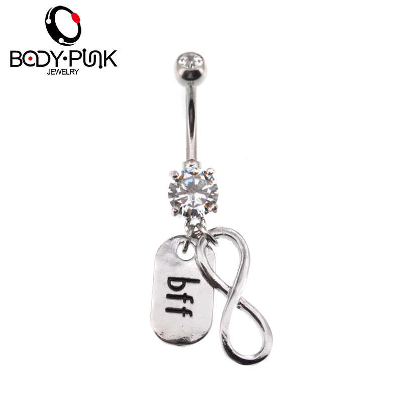 Body Punk Steel Infinity And Bff Dangle Belly Button Rings Sexy Fake Percing Ombligo Nombril Female Navel Piercing Body Jewelry