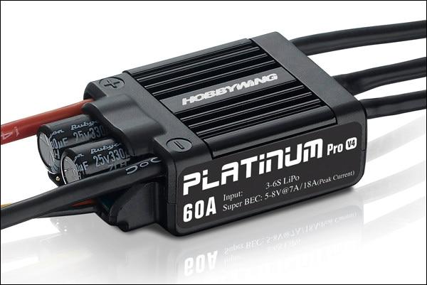 1 pc Original HobbyWing platino PRO V4 60A ESC (3 S 6 S) para Heli de clase 450 480 (hélice: 325 360mm)-in Partes y accesorios from Juguetes y pasatiempos    1