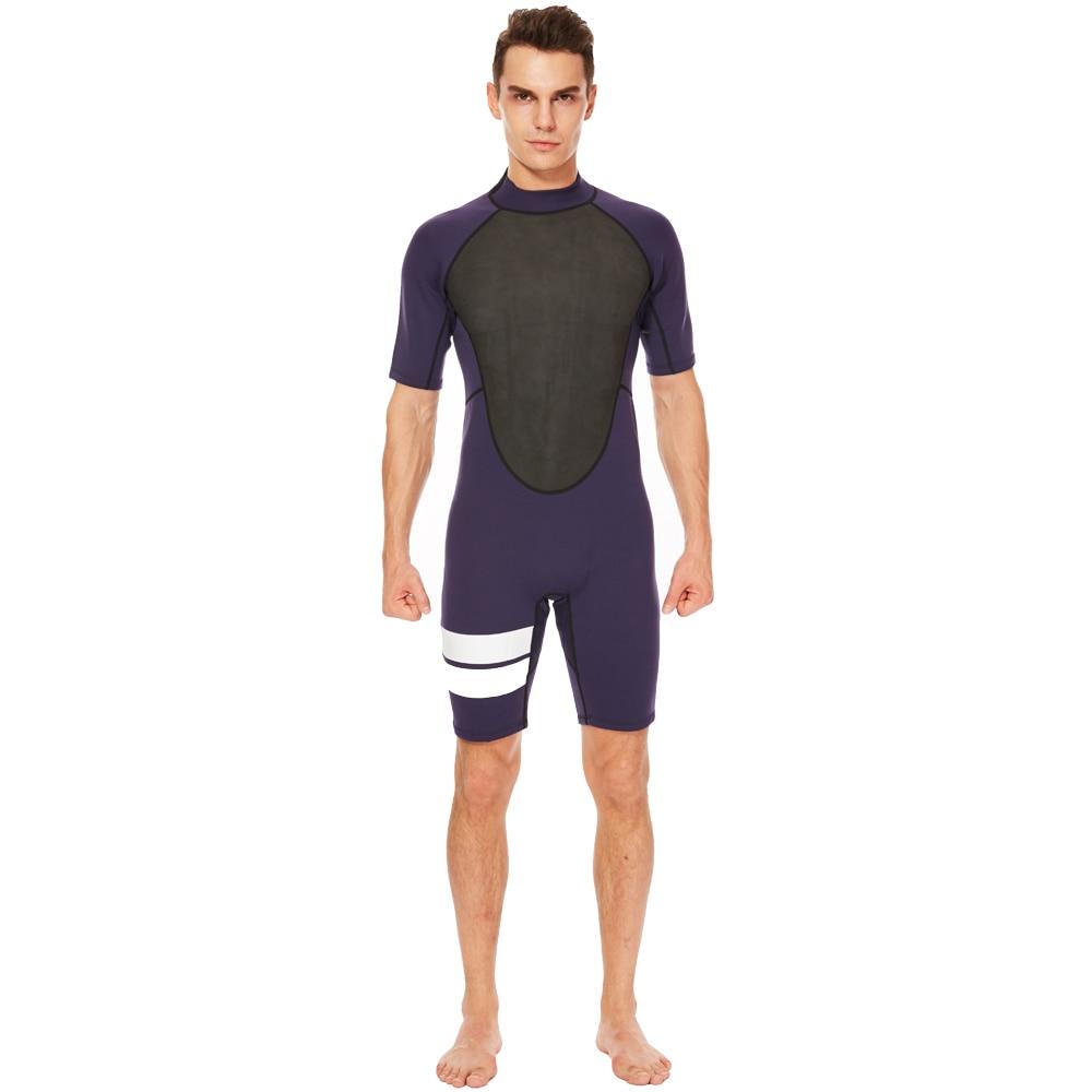3a22333cb1 REALON Men Wetsuit Shorty 2mm Neoprene Winter Back Zip Swimsuit for Swimming  Surfing Snorkeling Kayaking Scuba