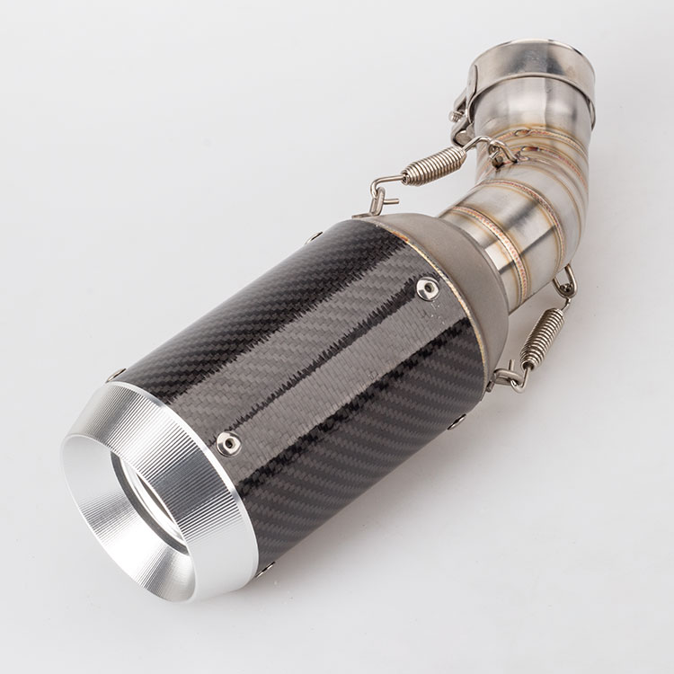 Motorcycle exhaust muffler with middle pipe for Z900 z900 link carbon fiber connector fit 51mm