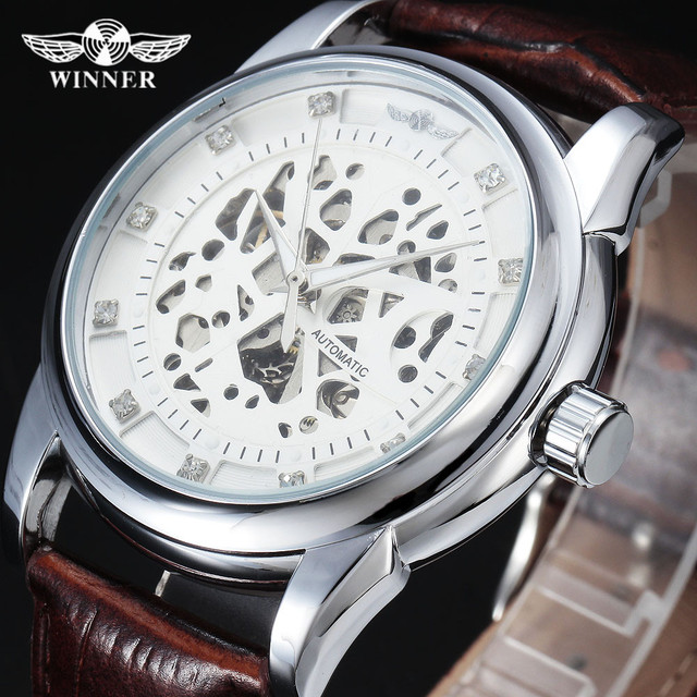 88243f34158 Vencedor Royal Design Diamante Branco de Prata Assista Montre Homme Mens  Relógios Top Marca de Luxo