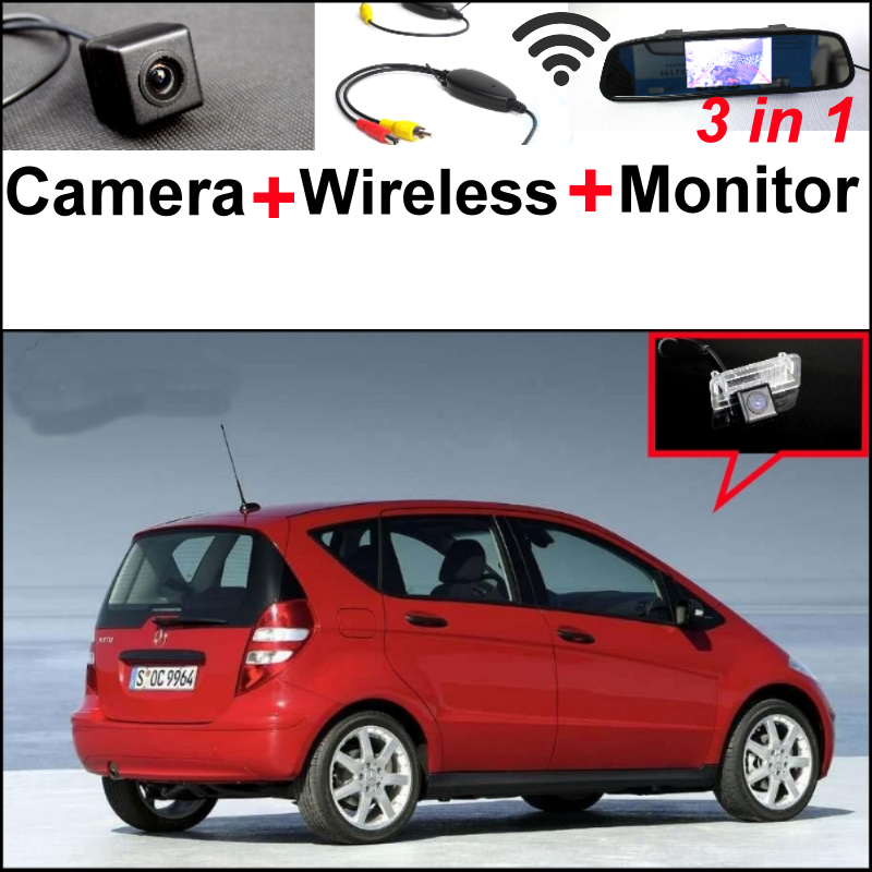 3in1 Special WiFi Camera + Wireless Receiver + Mirror Monitor Easy DIY Parking System For Mercedes Benz MB A Class W169 wireless pager system 433 92mhz wireless restaurant table buzzer with monitor and watch receiver 3 display 42 call button