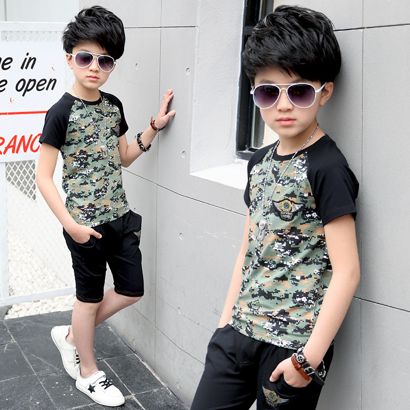 camouflage patchwork boys sets summer 2017 new children clothing sets kids short sleeve t shirts tees tops and shorts pants set kids clothes summer brand t shirt boys girls t shirts kids polo shirts children classic sport cheaper tees short sleeve clothing