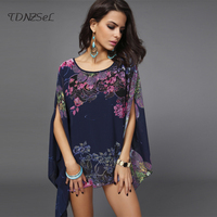 Boho Summer Beach Printed Blouses Women Loose Split Batw Sleeve Shirts Plus Size O Neck Floral