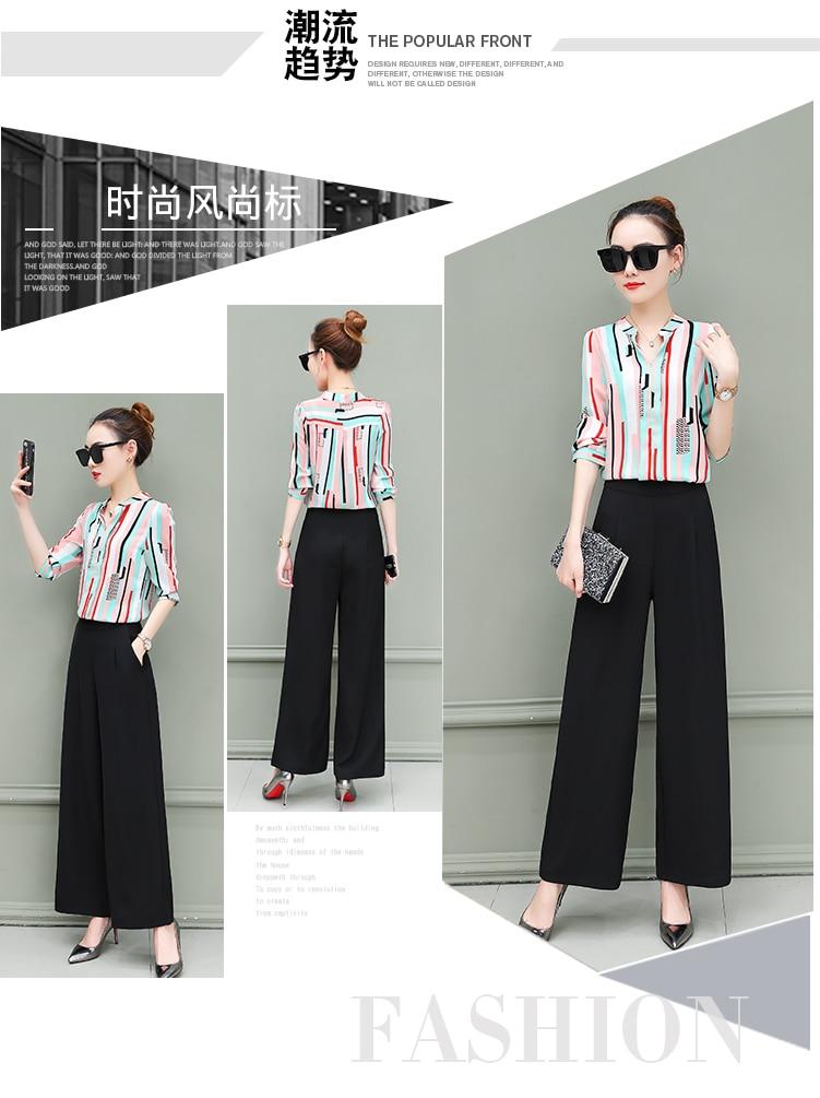 New OL suits 2018 summer Korean fashion stripe chiffon blouse top & wide-legged pants two pcs clothing set lady outfit S-4XL 6