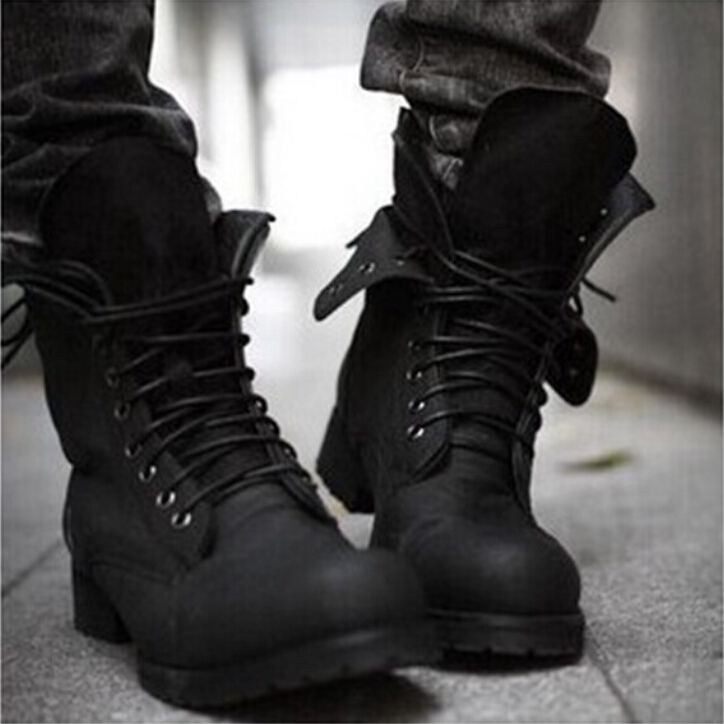 New! Retro Combat boots Winter England style fashionable Men's High Top Black shoes Hot Sale Men Ankle Boots Free Shipping