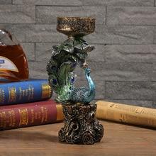European Classical Candlestick Home Decoration Creative Peacock Wedding Room Resin Gift