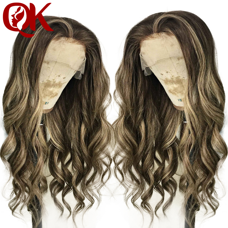 QueenKing hair Full Brazilian Remy Human hair Lace Wig 150 Density CAMI Color T4 4 24
