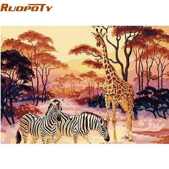 RUOPOTY diy rahmen Giraffe Zebra Tiere DIY Malen Nach Zahlen Kits Färbung Durch Zahlen Handgemalt Auf Leinwand Home Wand 40X50