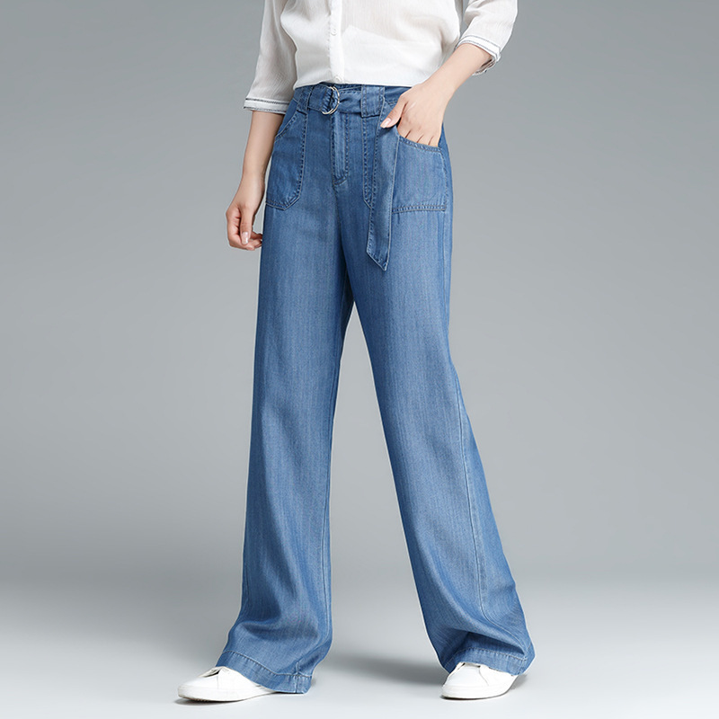 Straight Pants Women Tencel Fabric Mid Waist Sashes Pockets Full Length Pants Simple Design Casual Style