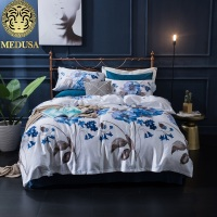 Medusa 60s Damask Ethic Flower King Queen Size Bed Linen Set White JY171106