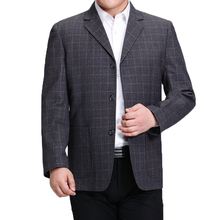 WAEOLSA Men Plaid Blazers Blue Gray Suit Jackets Man Business Casual Blazer Male Check Pattern Outfits Father Garment 3XL