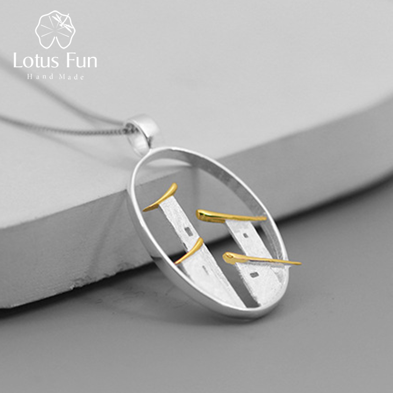 Lotus Fun Real 925 Sterling Silver Fine Jewelry Original Chinese Architectural Style Jiangnan Town Pendant Without Chain For Wom