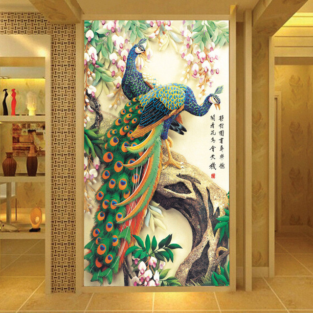 Custom Printed Wallpaper Peacock Living Room Entrance Hallway