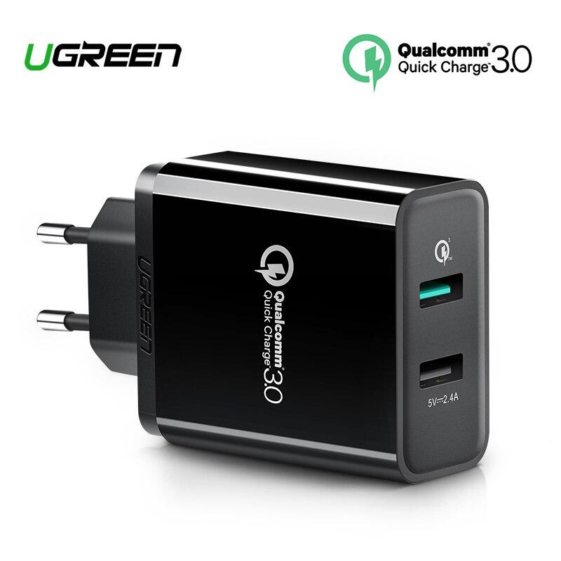 Ugreen carga rápida 3,0 30 W QC 3,0 USB cargador para iPhone X 8 cargador rápido para Samsung Galaxy s8 s9 Xiao mi 8 carga rápida 3,0