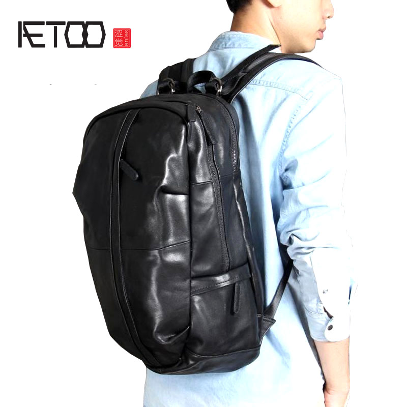 AETOO Large-capacity first layer leather shoulder bag leather backpack men and women mountaineering bag handmade original classi aetoo spring and summer new leather handmade handmade first layer of planted tanned leather retro bag backpack bag