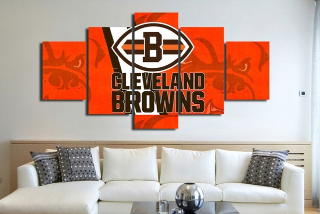 5 Panels Cleveland Browns Sports Team Logo Oil On Canvas Photo ...