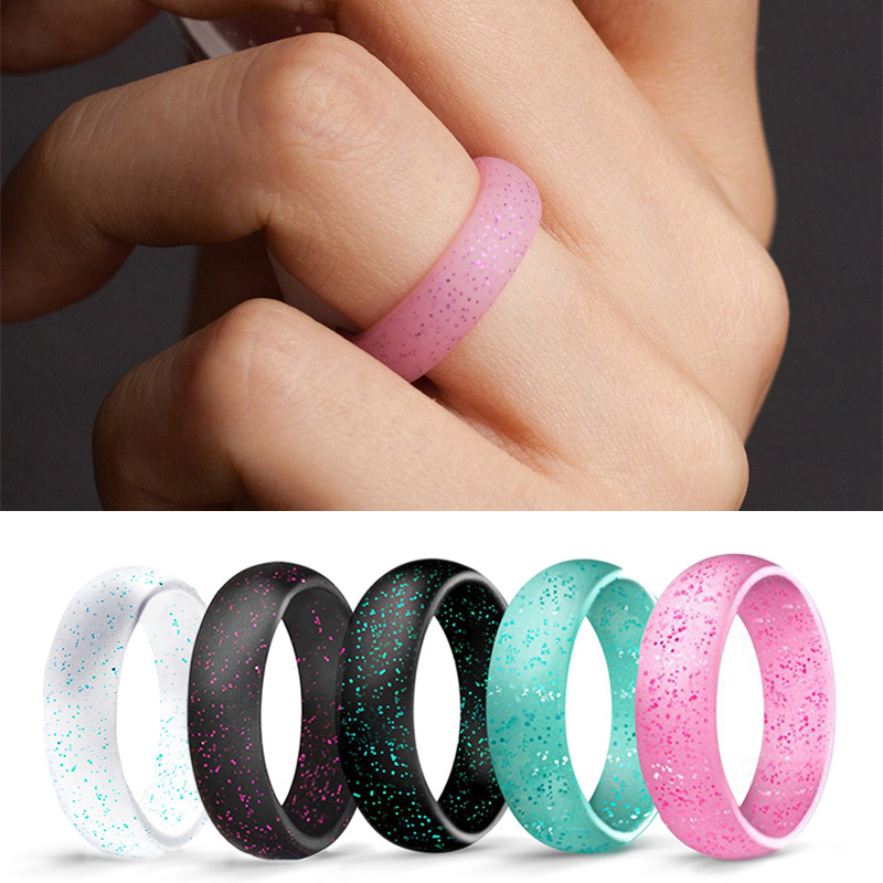 2018 New Arrival jewelry Blue Black Korean Rings for Women 1PC Silicone Candy Color Green Pink Couple Pearl Powder Ring Men