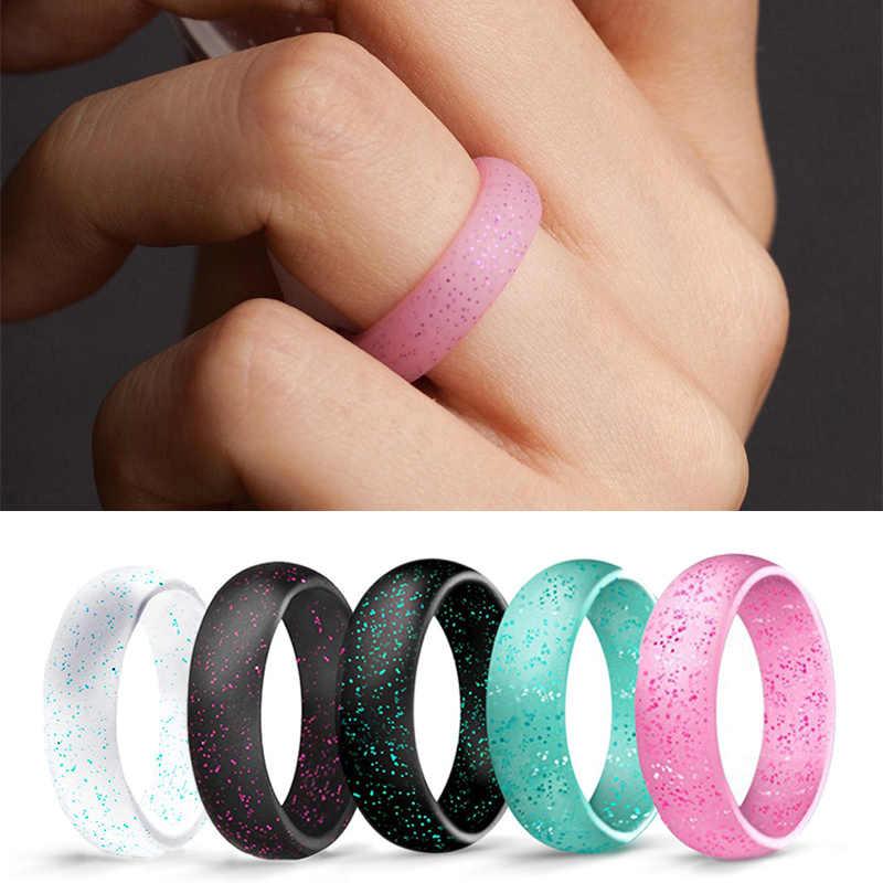 2018 nueva llegada joyería azul negro coreano anillos para mujer 1PC silicona caramelo Color verde rosa pareja perla polvo anillo de los hombres