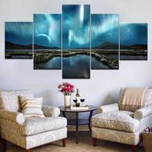 Wall Art Pictures Home Decoration Posters Frame Living Room 5 Panel Lunar Starry Sky Mountain Lake Modern HD Printed Painting брюки sky lake sky lake mp002xb0079t
