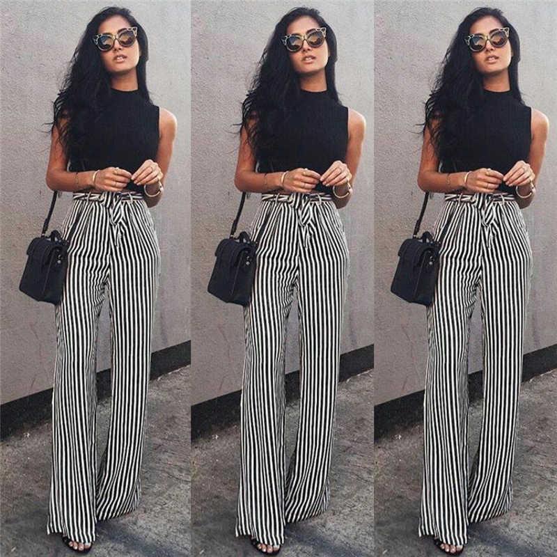 478c88ee17 Negro Blanco rayas Palazzo pierna Pantalones mujer cordón suelta alta  cintura pantalones más tamaño Pantalones