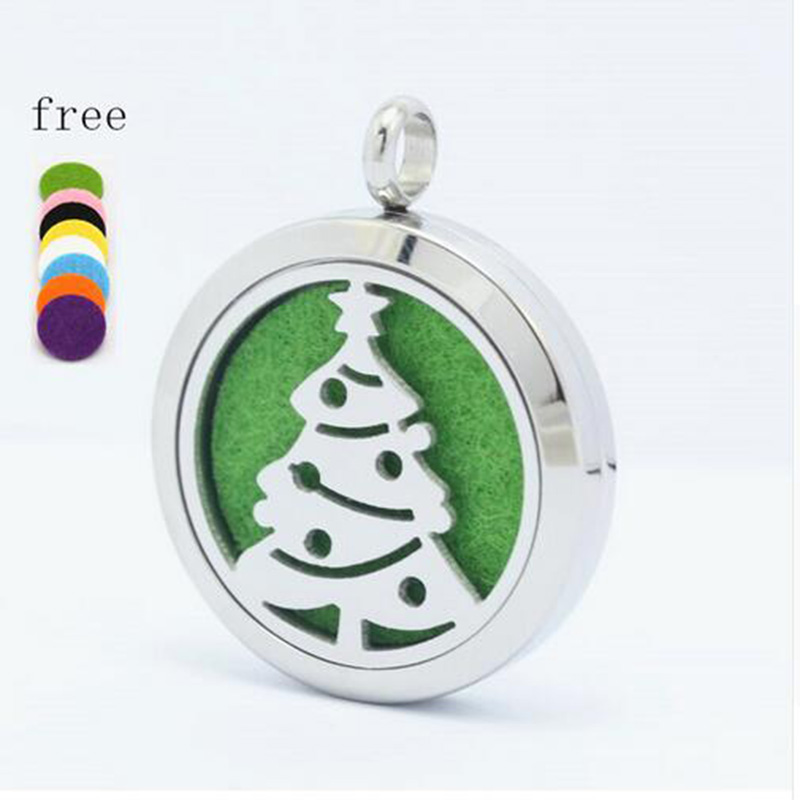 Tree Of Life 30mm Magntic Silver Stainless Steel Perfume Locket Aromatherapy Essentil Oil Diffuser Locket Pendant Necklace in Pendants from Jewelry Accessories