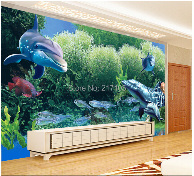 Custom Papel de parede Infantil,aquarium coral tropical fish murals for living room  TV wall vinyl wallpaper Papel de parede custom papel de parede floral black and white illustrated flowers for living room tv wall vinyl papel de parede